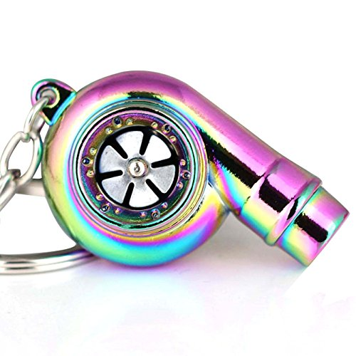 Maycom Creative Spinning New Charming Polished Rainbow Turbo Turbocharger Keychain Key Chain Ring Keyring Keyfob,make Whistle Sound