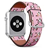 Compatible with Small Apple Watch 38mm & 40mm (All Series) Leather Watch Wrist Band Strap Bracelet with Stainless Steel Clasp and Adapters (French Bulldogs)