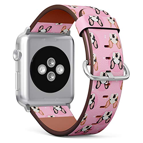 Compatible with Big Apple Watch 42mm & 44mm (All Series) Leather Watch Wrist Band Strap Bracelet with Stainless Steel Clasp and Adapters (French Bulldogs)