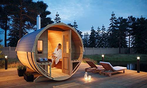 FinnTherm Fass-Sauna Sam, unbehandelt/Natur, inkl. Holz-Ofen (18 kW), 40 mm Wandstärke (219,5 cm x 280 cm)