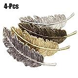 Fascigirl Haarspangen Damen,Haarclips Haarspange Frauen Metall Federförmige Retro Haarspange mädchen Haarschmuck für Mädchen (4 Pcs)
