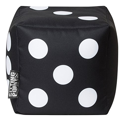 Gouchee Home Cube Brava Collection Contemporary Polyester Fabric Upholstered Dice Design Square Pouf/Ottoman, Black/White