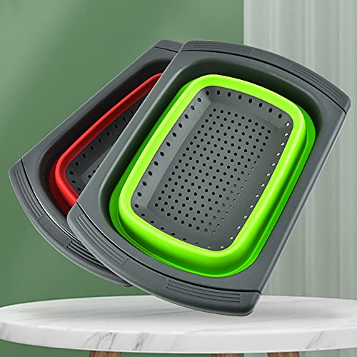 ZXXY 2 PCS Colapsible Colador con Asa, Colapsor Plegable De Silicona sobre El Fregadero para La Limpieza Y Colocación De Frutas Y Vegetales