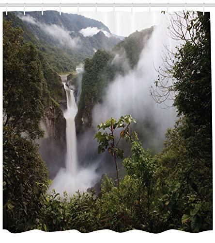 taquxinlaowan Cortina de Ducha Nature San Rafael Waterfalls Print para baño