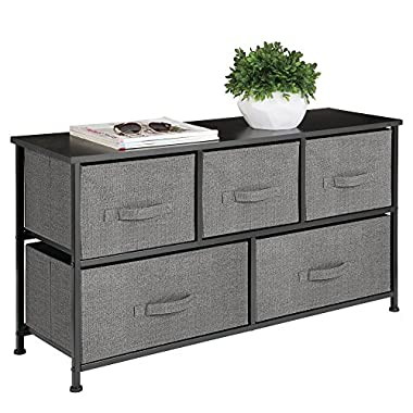mDesign Extra Wide Dresser Storage Tower - Sturdy Steel Frame, Wood Top, Easy Pull Fabric Bins - Organizer Unit for Bedroom, Hallway, Entryway, Closet - Textured Print - 5 Drawers, Charcoal Gray/Black