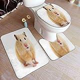 DJNGN Juego de 3 alfombrillas de baño, jerbo, hámster, ratón, linda mascota, varita divertida, juego de alfombra, alfombra de baño antideslizante, alfombra de contorno, cubierta de tapa de inodoro, al