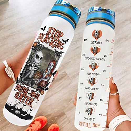 Sportflasche Groß Trinkflasche Auslaufsichere für Fitness Gym Heim Büro Outdoor Wasserflasche Weihnachten Halloween Geschenk blanco 1000ml