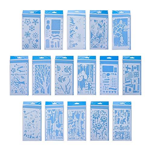 PandaHall Elite - Juego de 16 Plantillas de plástico para Dibujo, Cuentas de Mano Hueca, Plantilla para Manualidades, álbumes de Recortes, Accesorios de Bricolaje, Color Blanco