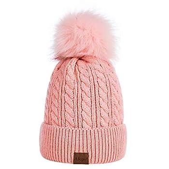 Alepo Womens Winter Beanie Hat Warm Fleece Lined Knitted Soft Ski Cuff Cap with Pom Pom Pink
