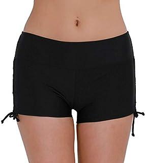 IEFIEL Women's Sports Swim Shorts Boyleg Boardshorts Beach Swimming Briefs with Adjustable Tie
