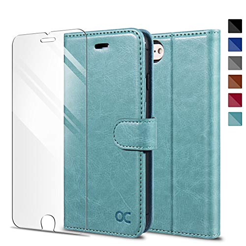 OCASE Kompatibel mit iPhone SE 2020 Hülle iPhone 7 Handyhülle iPhone 8 [ Gratis Panzerglas Schutzfolie ] [Premium PU Leder] [Kartenfach] Tasche Schutzhülle Lederhülle für iPhone 7/8/SE 2020 Minzgrün