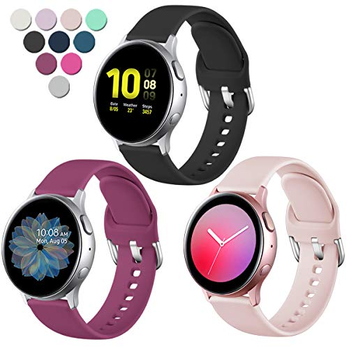 Lerobo Compatible with Samsung Galaxy Watch Active 2 Bands 40mm 44mm, Galaxy Watch Active Bands, Galaxy Watch Bands 42mm, 20mm Silicone Sport Replacement Strap,3 Pack,Small,Pink Sand Black Wine