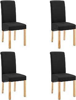 Festnight 4 Uds Sillas Comedor de Tela Negro 42 x 54,5 x 96 cm Silla de Oficina Taburete para Trabajo, Estudio, Oficina Muebles Cocina Muebles Bar Comedor