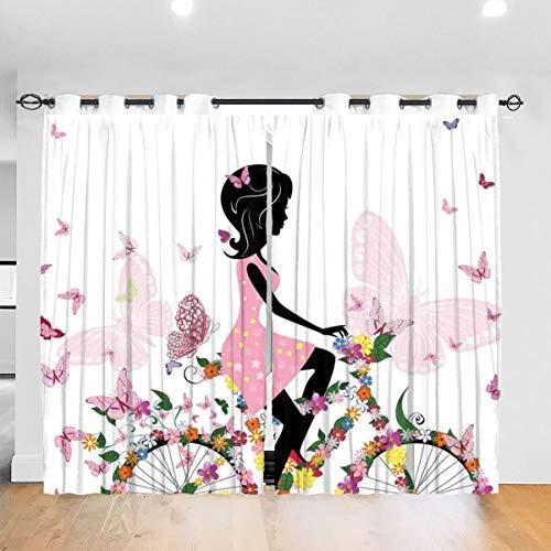 Gardinen Verdunkelungsvorhang,Mädchen in einem rosa Kleid, das EIN Fahrrad mit bunten Blumen und romantischen Schmetterlingen reitet,Vorhang mit Ösen für Schlafzimmer,2er Set(260cmx210cm)