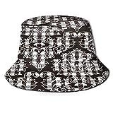Sombrero Pescador Unisex,Fondo Floral Verificación Blanco Negro Transparente,Plegable Sombrero de Pesca Aire Libre Sombrero Bucket Hat para Excursionismo Cámping De Viaje Pescar