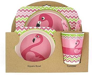 Natural Organic Bamboo Fibers Flamingo Design Children Dinner Kit Kids Feeding Bamboo Tableware Cutlery Plates Bowls