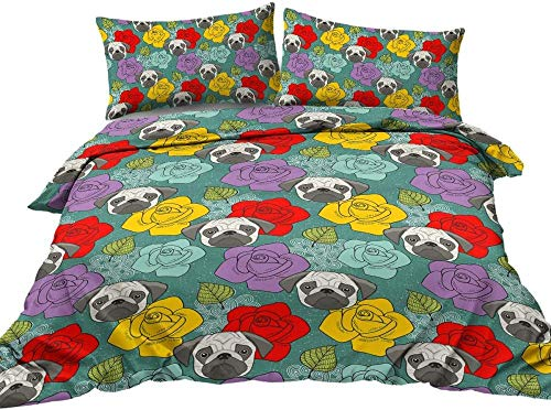 QFAZO 3D Modern Printed Bedding Set Animal Pug Plant Rose Flower Green Leaf Pattern 220X230Cm Polyester With 2 Pillowcase 1 Duvet Duvet Cover With Zipper Closure Soft Microfiber Quilt Cover