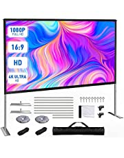 MOOKA Projector Screen with Stand-100 inch, Portable Indoor Outdoor Projector Screen Fordable, 16:9 4K HD Wrinkle-Free Outdoor Movie Screen with Carry Bag, Front Rear Video Projection Screen for Movie