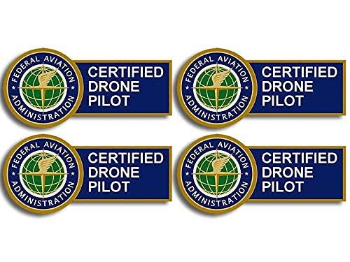 American Vinyl 4-Pack: Small FAA Certified Drone Pilot Sticker (Logo Federal Aviation UAV Aircraft Cell usdot)