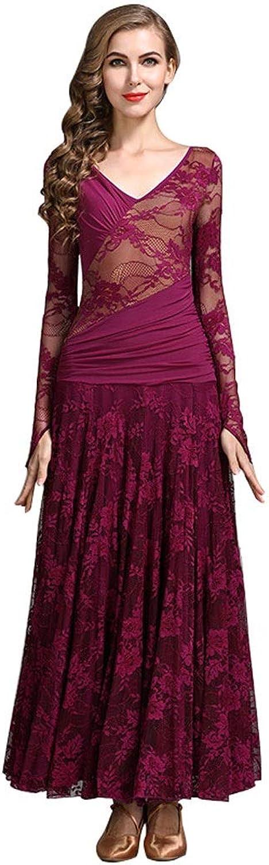 Ladies Stretchy Modern Dance Dresses V-Neck,Long Sleeves Lace Dancewear Dancing Costume Simple Elegant