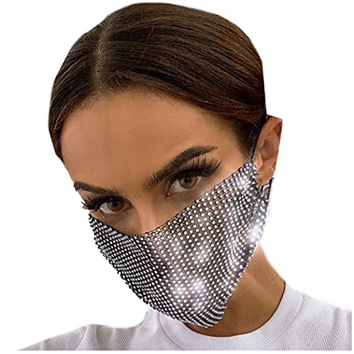 Barode Sparkly Rhinestone Mesh Mask Black Crystal Masquerade Ball Party Nightclub Face Masks Venetian Mardi Gras Jewelry for Women and Girls