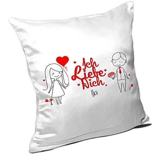 Kissen mit Spruch - Ich liebe dich Ilja - & schönem Motiv mit verliebtem Pärchen zum Valentinstag | Kissen für Verliebte | Namenskissen