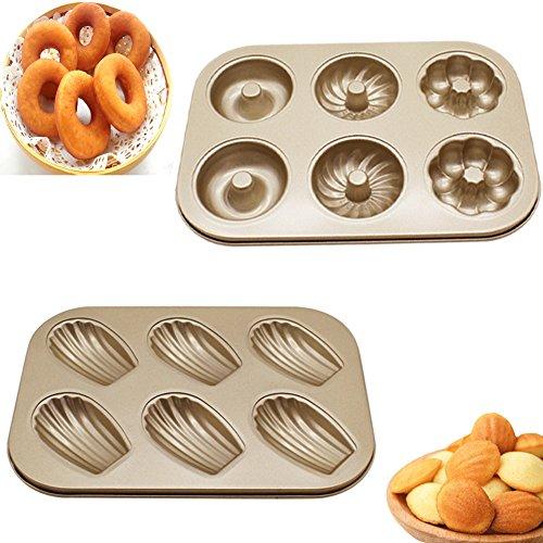 Upintek Nonstick 6-Cavity Mini Donut Pan, Carbon Steel Multi-shape Cake Baking Pan, Madeleine Pan for Mini Cake Baking Making (2Packs)