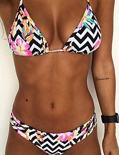 Bikini Set Swimwear Women Two-Piece Suits Tankinis Strap Pink Triangle Cheeky Bikini Swimwear - Striped Floral Print Pink Sexy@Blushing Pink_L