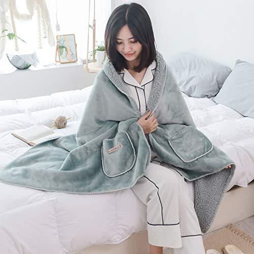 DINFO 着る毛布 ポンチョ 毛布 着るブランケット ルームウェア 肩掛け 静電気防止 厚手 あったか もこもこ ランケット 洗濯可能 冷房対策 ブランケット 寒さ対策 ひざ掛け レディース メンズ (ライトグリーン, 60 x 170 cm)