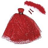 Vestido para muñeca con lentejuelas y sin tirantes, vestido de boda, chal y guantes, rojo