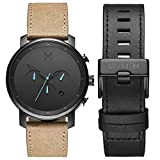 MVMT Chrono Mens Watch Gift Set | 45 MM Men's Analog Watch Chronograph | Gunmetal Sandstone & Black Leather Straps