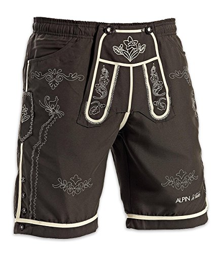amara-global Badeshorts Trachtendesign Lederhose Badehose Bermuda Short (XXL, Braun)