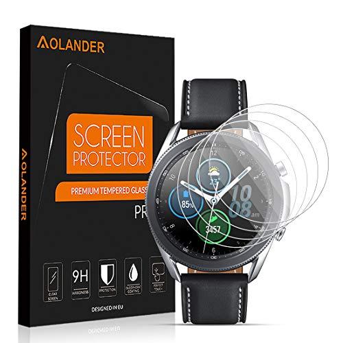 POVINMOS per Samsung Galaxy Watch 3 45mm Pellicola Protettiva Vetro Temperato, 9H Durezza Protezione dello schermo Screen Protector [Scratch Resistente] [Senza Bolle] Proteggi Schermo【4 Pack】