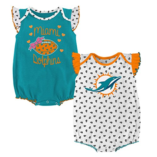 NFL Infant Heart Fan 2 Piece Creeper Set-Aqua-12 Months, Miami Dolphins