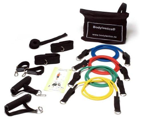 Bodylastics Expander-Set inkl. bebilderter Übungsanleitung, Level 1- 4