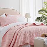 SunStyle Home Quilt Sets Queen Pink Lightweight Bedspread Soft Coverlet for All Season 3pcs Leaf Embroidered Quilted Bedding Set (1 Quilt 2 Pillow Shams)(90'x96')
