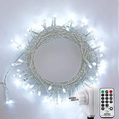NEXVIN Luci Albero Di Natale ,Catena Luminosa 23M 200 LEDs, Luci di Natale con 8 Modo di Lampeggiata, Funzione Timer, Cavo trasparente, Luci Natalizie da Esterno ed Interno, Luci Bianco