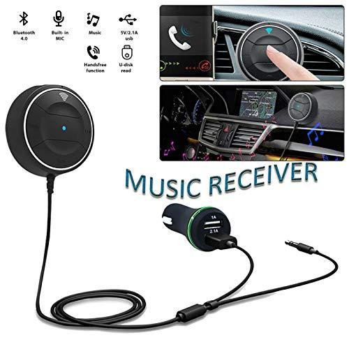 Kit de Receptor de Coche Inalámbrico Bluetooth, Riloer Receptor de Audio Estéreo MP3 Bluetooth Portátil para Windows, iPhone, iPad, Android, PC