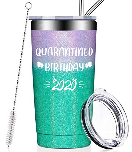 Quarantined Birthday 2020, Funny Quarantine Birthday Gifts for Women, Men, Best Friends, Mom, Dad, Husband, Wife, 21st 30th 40th 50th 60th Social Distancing Presents, Vacuum Insulated Wine Tumbler Cup