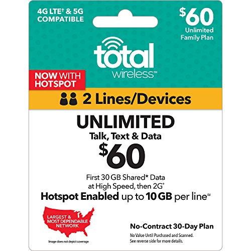 Total Wireless $60 Shared Plan - Unlimited Talk, Text, 30GB Data - 30 Days (New Benefits)