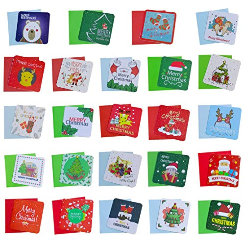 Listenman Christmas Cards Set, Cute Mini Christmas Cards 96 Small Christmas Cards, Holiday Greeting Cards ,Assortment with Envelopes(48 Assorted Designs featuring Traditional Christmas Cards)