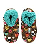 Lazy One Fuzzy Feet Slippers for Women, Cute Fleece-Lined House Slippers, Coffee, Latte Sleep, Donut, Non-Skid