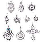 PH PandaHall 10pcs Alloy Rhinestones Snaps Buttons Jewelry Charms for Snaps Jewelry Making Charms