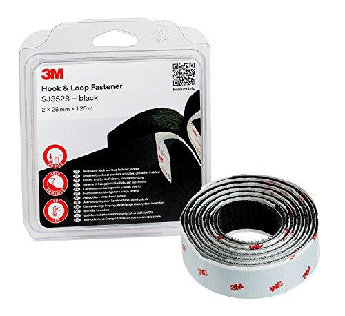 3M Sistema de cierre reposicionable SJ352Bbk - es una alternativa sencilla a cremalleras, tornillos, broches, enganches, pasadores - 2 x 25mm X 1.25m, negro (1 unidad)