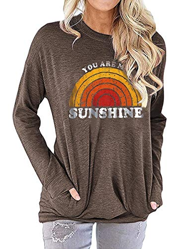 Amazon Outono Modelos de Explosão de Manga Longa T-shirt Mulheres Você é My Sunshine Letters Impresso Solto Sweater (Color : Coffee, Size : L)