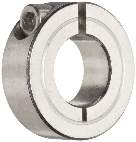 "Climax Metal 1C-075-S T303 Stainless Steel One-Piece Clamping Collar, 3/4"" Bore Size, 1-1/2"" OD, With 1/4-28 x 5/8 Set Screw"