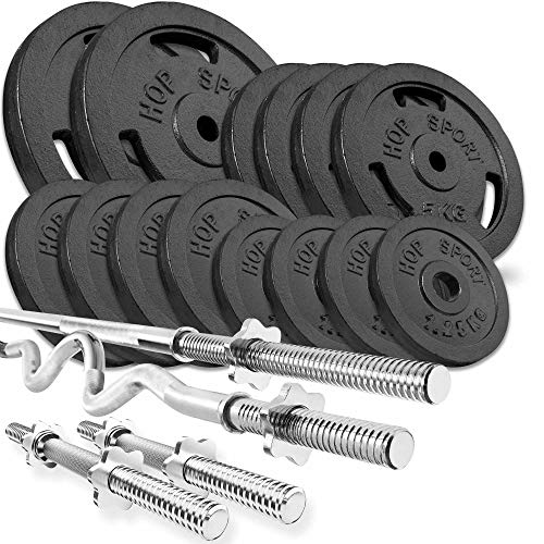 Hop Sport Cast Iron Barbell Set 76kg: 1x Barbell, 1 Super EZ Curl Bar, 2x Dumbbell with 14 Iron Weight Plates - Weight Lifting Set for Bodybuilding - Home Gym Equipment for Training Bench
