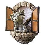 BULABULA Lovely Courtyard Dragon Sculpture - Figura decorativa de resina pintada a mano, diseño de dinosaurio
