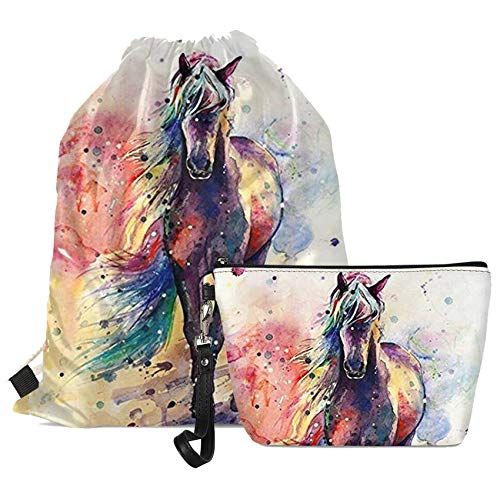 Goyentu Colorful Watercolor Horse Women Girls Travel Set Include Trapezoid Makeup Bag Cosmetic Case and Drawstring Backpack Gymbag for Girly Gift