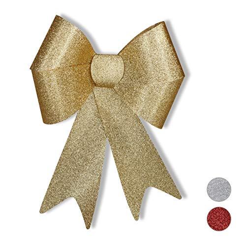 Relaxdays XL Riesenschleife, Dekoschleife für große Geschenke, Glitzer Dekoration, als Hochzeitsdeko o. Autoschleife, Gold, 54 x 38 x 7,5 cm